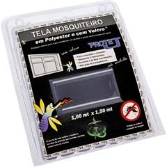 Tela Mosquiteiro em Poliéster Protej com Velcro 100x150cm Cinza