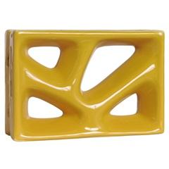 Tijolo Vazado Esmaltado Folha 23x16x8cm Amarelo - Cerâmica Martins