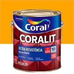 Tinta Esmalte Sintético Premium Brilhante Coralit Tradicional Amarelo 3,6 Litros
