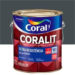 Tinta Esmalte Sintético Premium Brilhante Coralit Tradicional Cinza Escuro 3,6 Litros - Coral