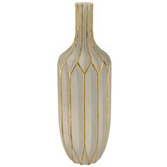 Vaso em Vidro 36x11cm Fendi E Dourado - Mart