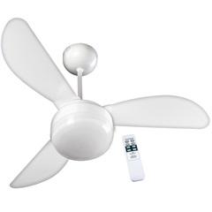 Ventilador de Teto com Luminária Controle Remoto Santorini 110v com 3 Pás Branco
