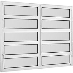 Vitrô Basculante de Alumínio 2 Seções Vidro Mini Boreal Branco Una 100x150cm - Casanova