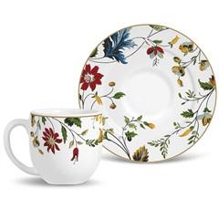 Xícara de Café com Pires Flat Floral - Porto Brasil Cerâmica