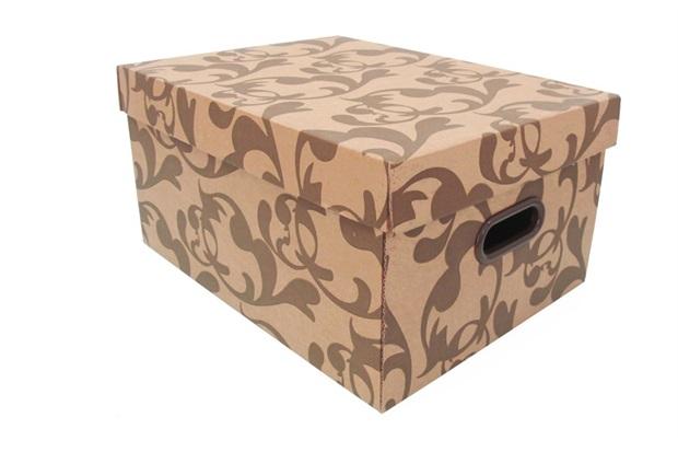 Caixa Organizadora Office Arabesco Marrom E Kraft  43,3x32x22 Cm - Boxgraphia