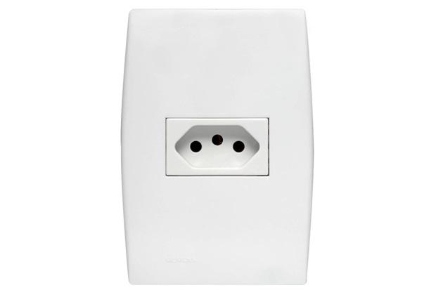 Conjunto 1 Tomada 2p+T 10a Horizontal com Placa 4x2 Ilus Branco - Siemens