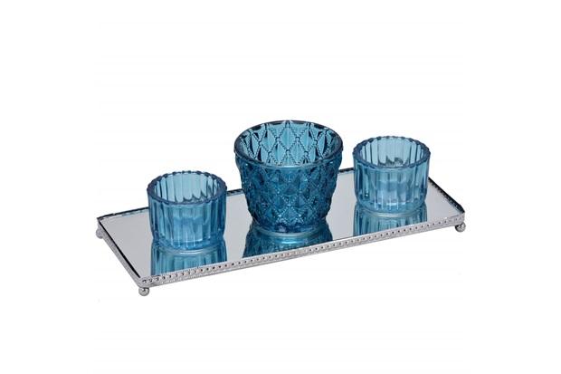 Conjunto de Vaso com Bandeja em Metal Espelhado com 3 Peças Azul - Importado