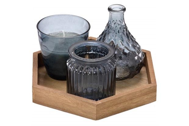 Conjunto de Vaso E Vela com Bandeja em Madeira com 3 Peças Cinza - Importado