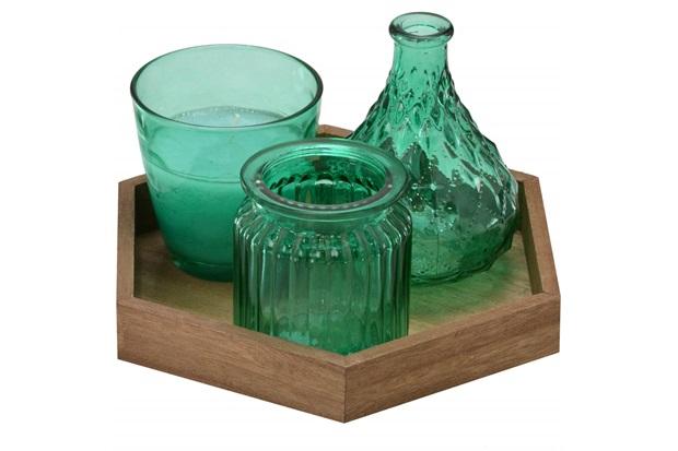 Conjunto de Vaso E Vela com Bandeja em Madeira com 3 Peças Verde - Importado