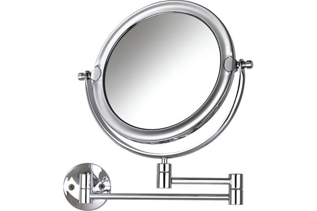 Espelho de Aumento de Parede Dupla Face Móbile Cromado - Crysbell