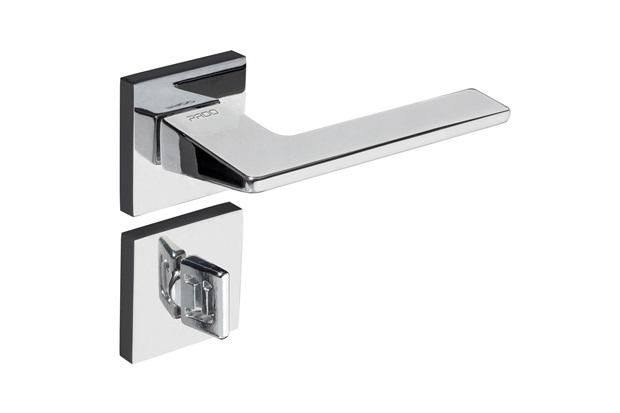 Fechadura para Banheiro com Roseta Quadrada Sara Cromado - Pado