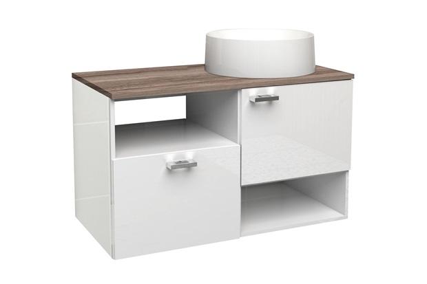 Gabinete para Banheiro em Mdf Iara 79,6cm Branco E Tamarindo - Cozimax
