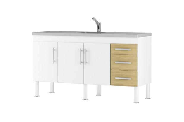 Gabinete para Cozinha em Mdp Flex 144x80cm Branco E Nogueira - MGM Móveis