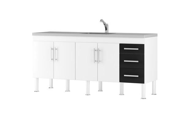 Gabinete para Cozinha em Mdp Flex 194x80cm Branco E Preto - MGM Móveis