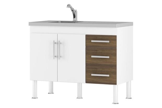 Gabinete para Cozinha em Mdp Flex 80x94cm Branco E Castanho - MGM Móveis