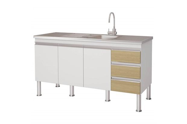 Gabinete para Cozinha em Mdp Ibiza 80x143,5cm Branco E Nogueira - MGM Móveis