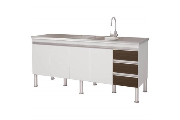 Gabinete para Cozinha em Mdp Ibiza 80x173,5cm Branco E Castanho - MGM Móveis