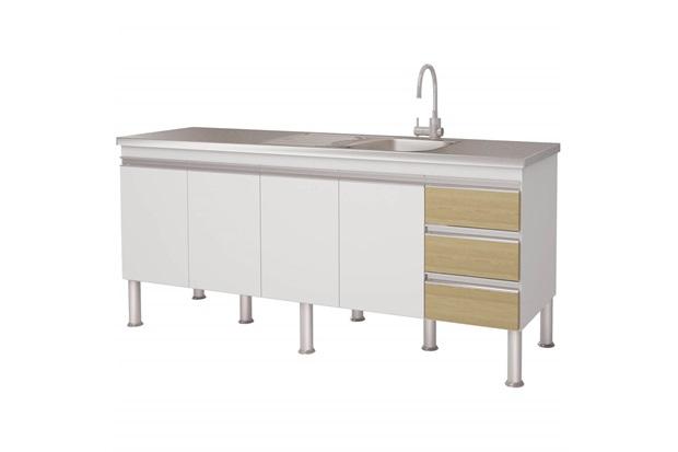 Gabinete para Cozinha em Mdp Ibiza 80x173,5cm Branco E Nogueira - MGM Móveis