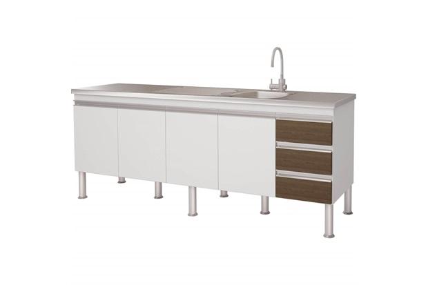 Gabinete para Cozinha em Mdp Ibiza 80x193,5cm Branco E Castanho - MGM Móveis