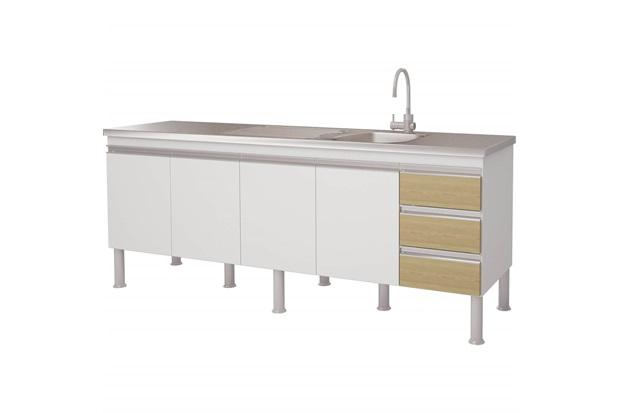 Gabinete para Cozinha em Mdp Ibiza 80x193,5cm Branco E Nogueira - MGM Móveis