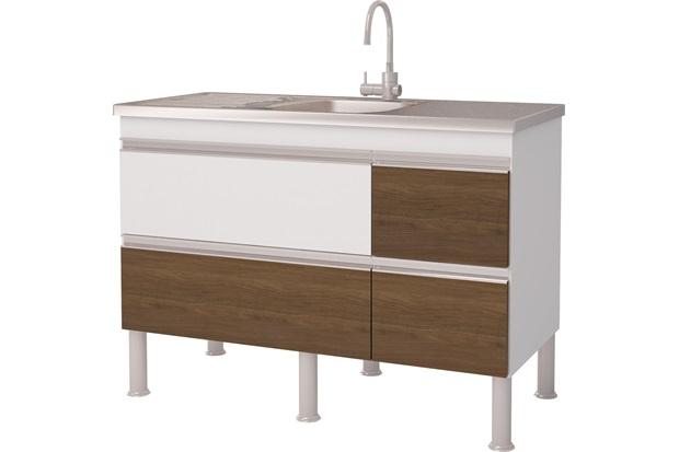 Gabinete para Cozinha em Mdp Prisma 113,5x86cm Branco E Castanho - MGM Móveis