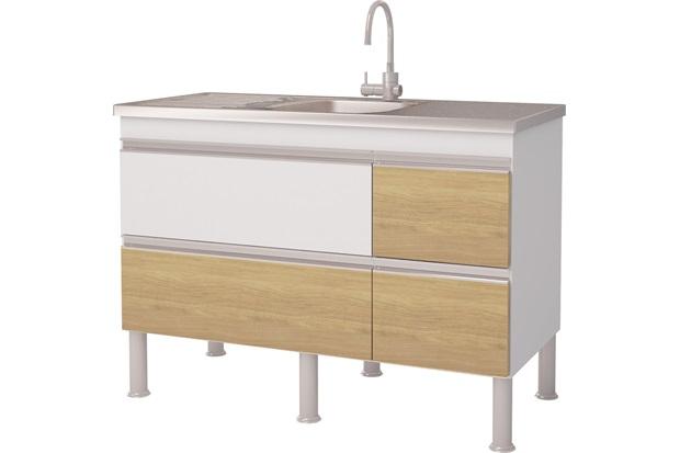 Gabinete para Cozinha em Mdp Prisma 113,5x86cm Branco E Nogueira - MGM Móveis