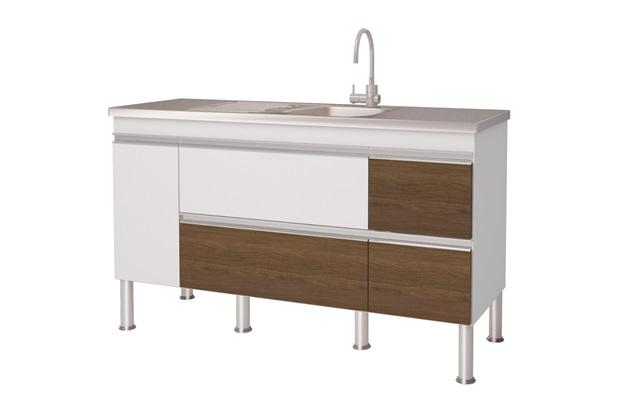 Gabinete para Cozinha em Mdp Prisma 143,5x86cm Branco E Castanho - MGM Móveis