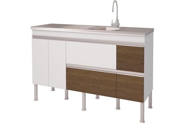 Gabinete para Cozinha em Mdp Prisma 173,5x86cm Branco E Castanho - MGM Móveis