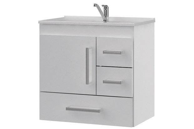 Gabinete Suspenso para Banheiro com Tampo Florença 60x56cm Branco - MGM Móveis