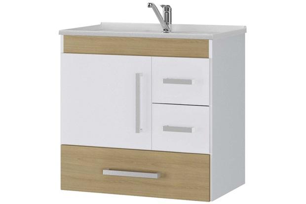Gabinete Suspenso para Banheiro com Tampo Florença 60x56cm Nogueira - MGM Móveis