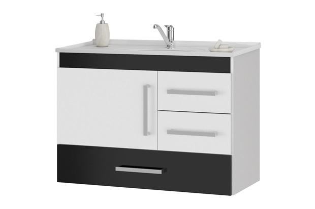 Gabinete Suspenso para Banheiro com Tampo Madri 80cm Preto - MGM Móveis