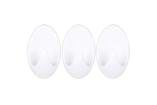 Gancho em Plástico com Adesivo Fixa Fácil com 3 Peças Branco - Primafer