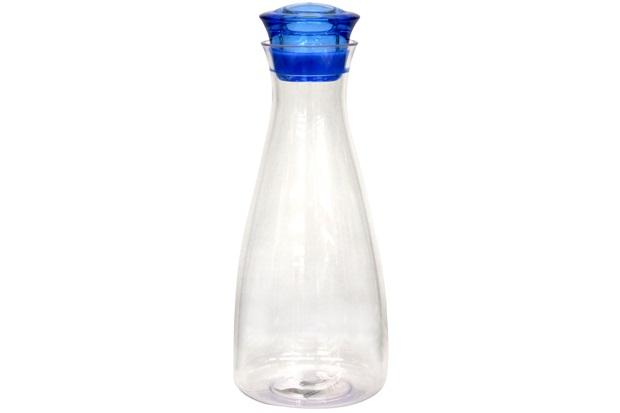 Garrafa de Água em Acrílico Redonda 1 Litro Transparente E Azul  - Importado