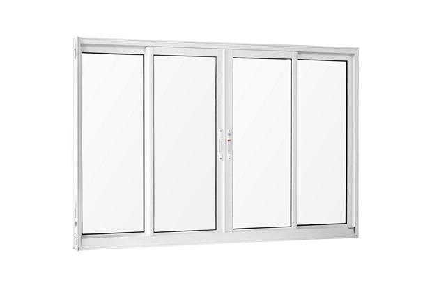Janela 4 Folhas de Alumínio sem Bandeira sem Grade Una Branca 100x150cm - Casanova