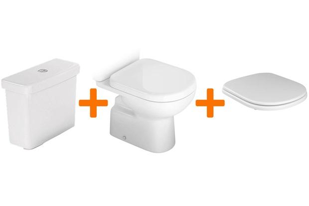 Kit Bacia + Caixa de Acoplar com Mecanismo Dual Flux + Assento Sanitário Vogue Plus - Kit
