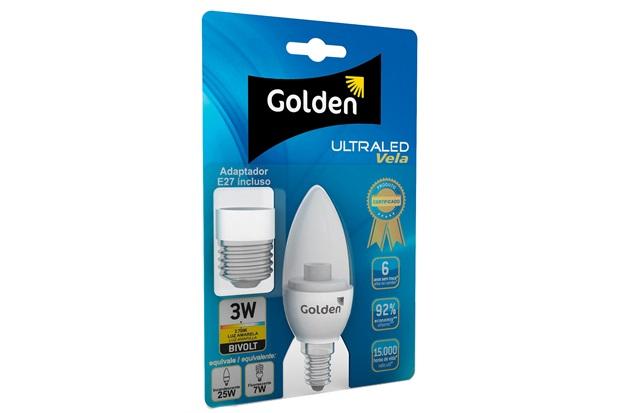 Lâmpada Led Vela Transparente 3w Bivolt com Adaptador 2700k - Golden