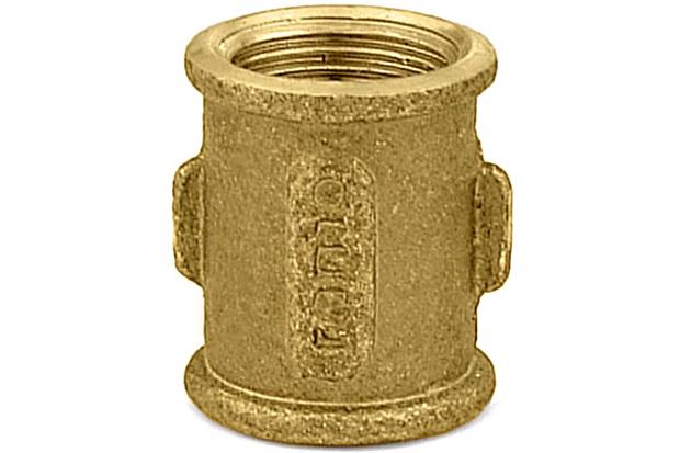 """Luva em Latão Rosca Fêmea 1/2"""" Dourado - Ramo Conexões"""