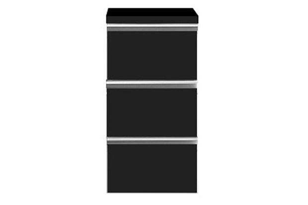 Módulo Slim com 3 Gavetas Preto - Bumi Móveis