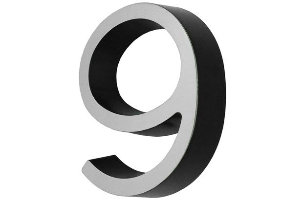 Numero 9 em Plástico Preto com Face Cromada 8 Cm - Fixtil