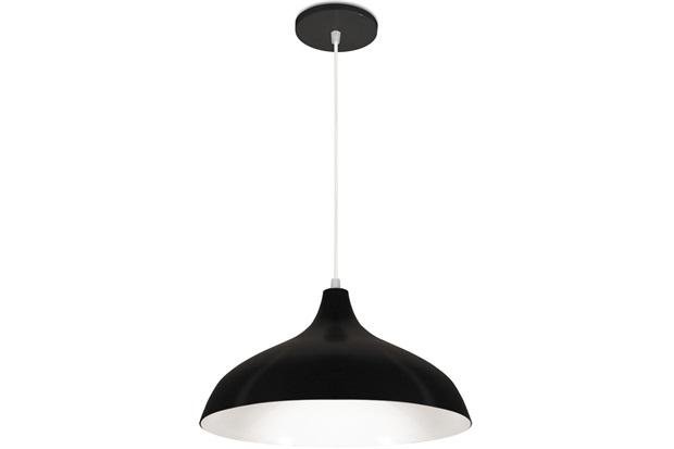 Pendente em Alumínio para 1 Lâmpada Pera Minas Gerais 33x18cm Preto - Nacional Iluminação