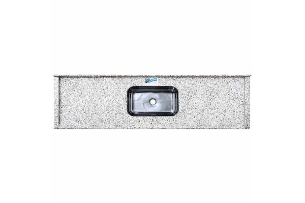 Pia de Granito com Cuba em Inox Elegance 180cm Branco Portinari - Venturini