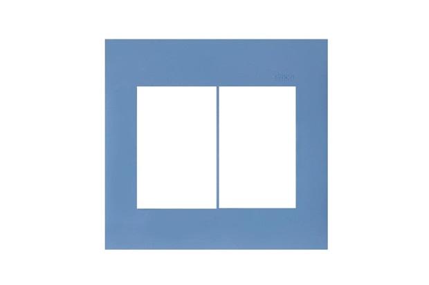Placa 4x4 6 Postos Horizontal Azul - Simon