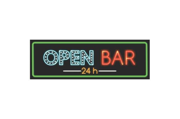 Placa Decorativa em Mdf Open Bar 24 Horas 10x30cm - Kapos