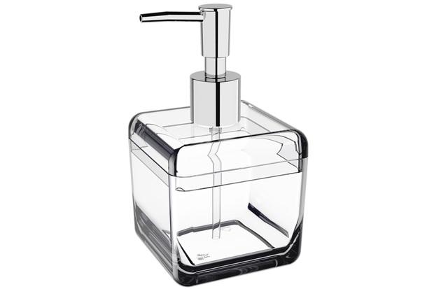 Porta Sabonete Liquido Cube Cristal 330ml  - Coza
