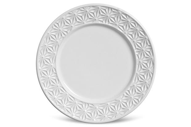 Prato de Sobremesa Manish Branco 20,5cm  - Porto Brasil Cerâmica