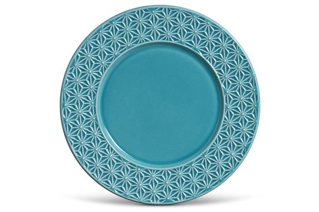 Prato Raso Manish Azul Poppy 27cm  - Porto Brasil Cerâmica