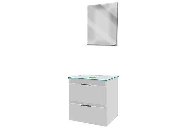 Toucador Kit Blu Mdf 2 Gavetas Branco 50cm - Bumi Móveis