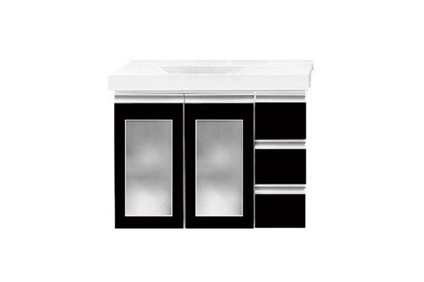 Toucador Slim 80cm Preto com Lavatório Branco E Porta de Vidro - Bumi Móveis