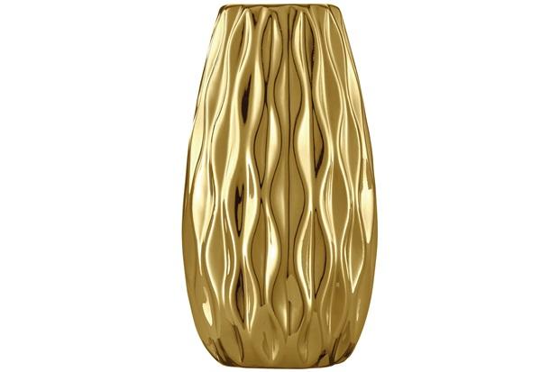 Vaso Cerâmico Largo 11,5x6cm Dourado - Mart