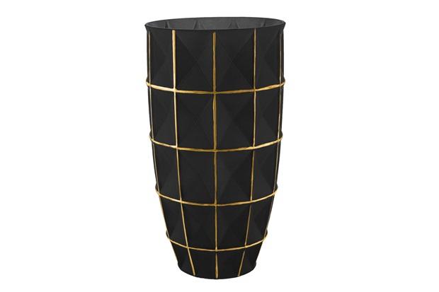Vaso em Vidro Médio 25x14cm Dourado E Preto - Mart